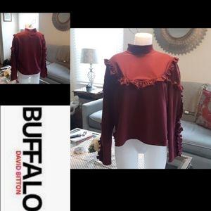 Size XL NWT Buffalo David Bitton burgundy sweater